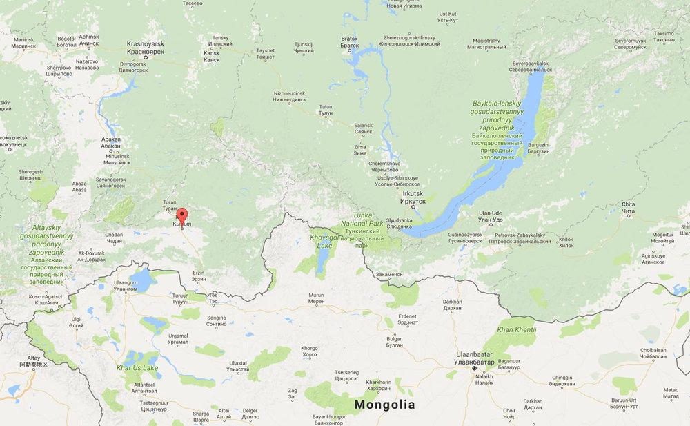 The Republic of Tuva, Russia (google maps)