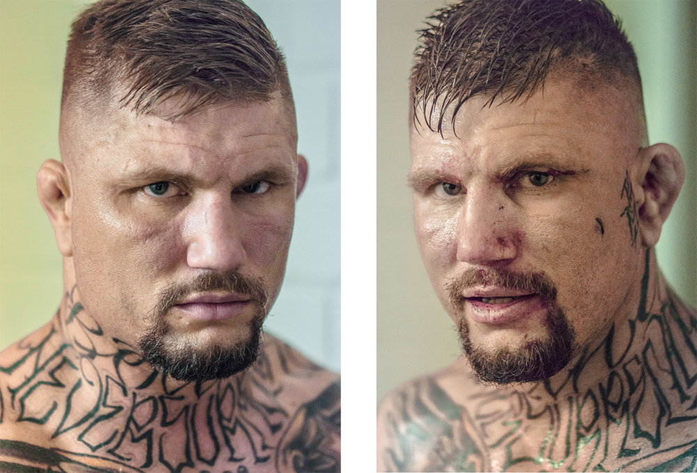 Before and after the fight.