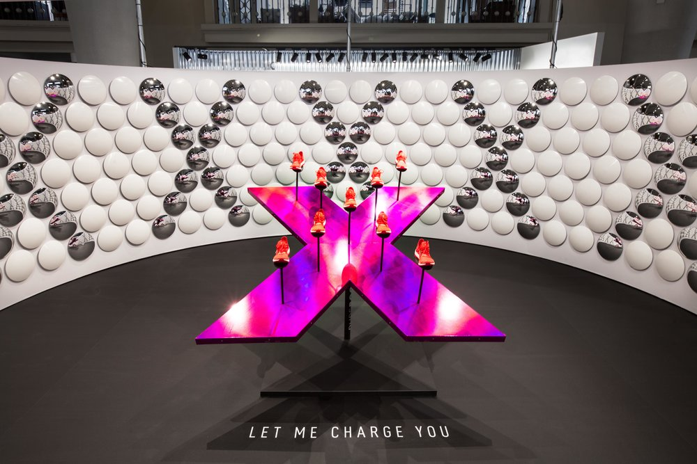 Adidas BOOST X - 2016InstalationLukas Novak designed this interior space for the presentation of the brand new running silhouette made specially for women. The space contains a dozens mirrored lenses build into shape X.