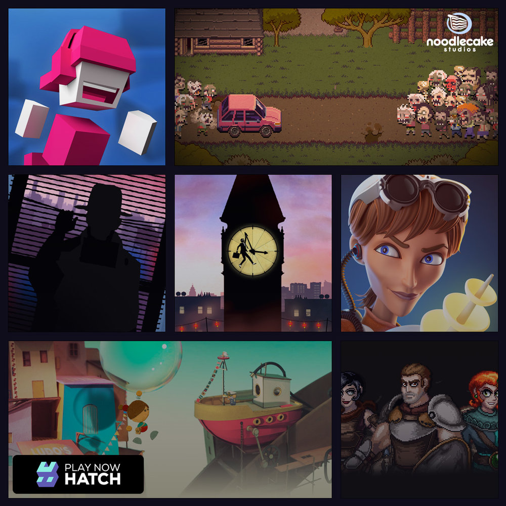 Hatch and Noodlecake are strategic content partners out to make the world a better place with supercool premium games. To start with, that means (clockwise from top left) Chameleon Run, Death Road To Canada, Island Delta, Wayward Souls, Lumino City, Framed and Framed 2.