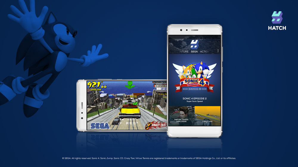 Hatch and SEGA have partnered to bring Sonic Jump, Sonic CD, Sonic 4 Episode 2, Crazy Taxi and Virtua Tennis to the world's first app for streaming games as easily as movies or music.