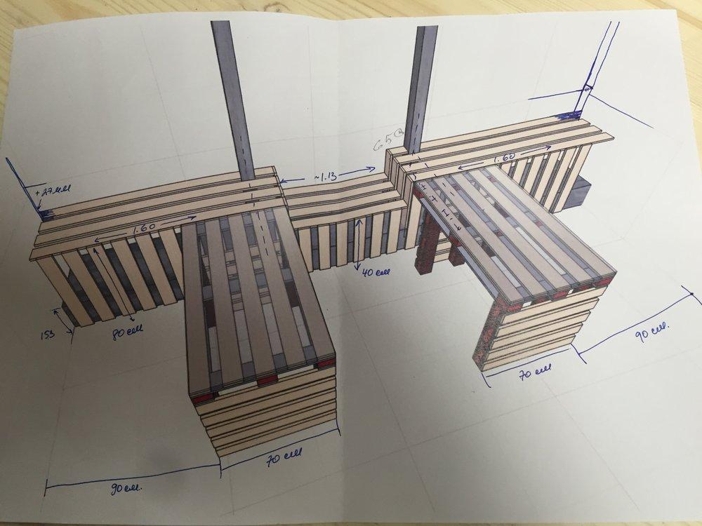 Один из моих рабочих чертежей конструкции подоконника и столов из паллет.