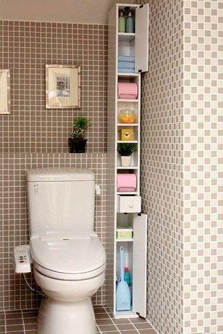 узкий шаф-пенал для ванной  источник