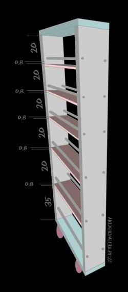 Расчет шага полок длявыкатнойполки между стеной и холодильником