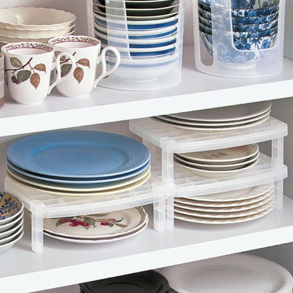 организация пространства в шкафу штабелируемая подставка для тарелок