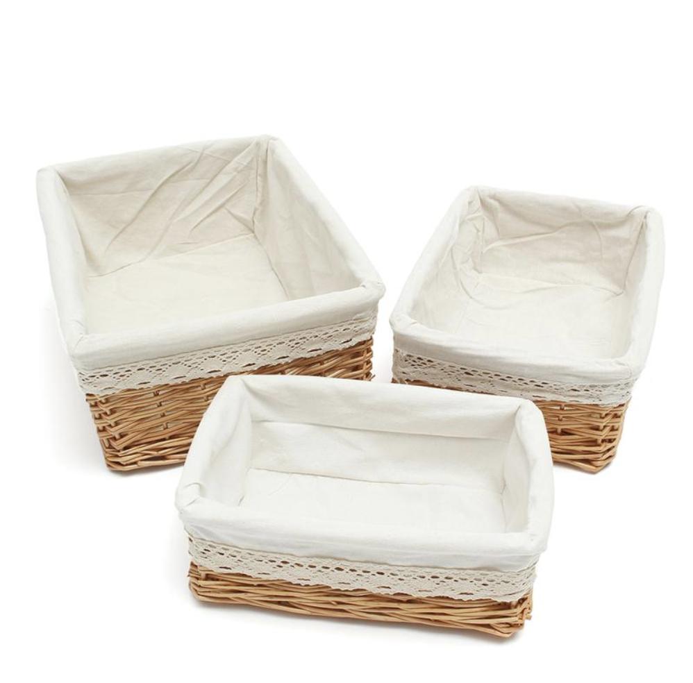 недорогие плетеные корзины с подкладкой из ткани
