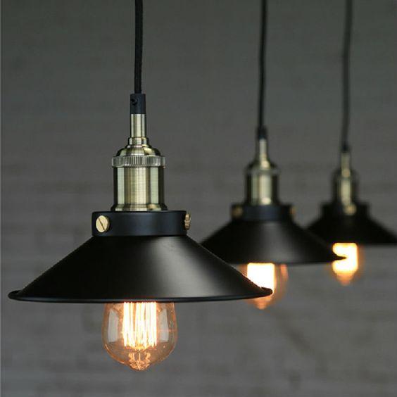 винтажные индустриальные светильники подвесы лофт  источник