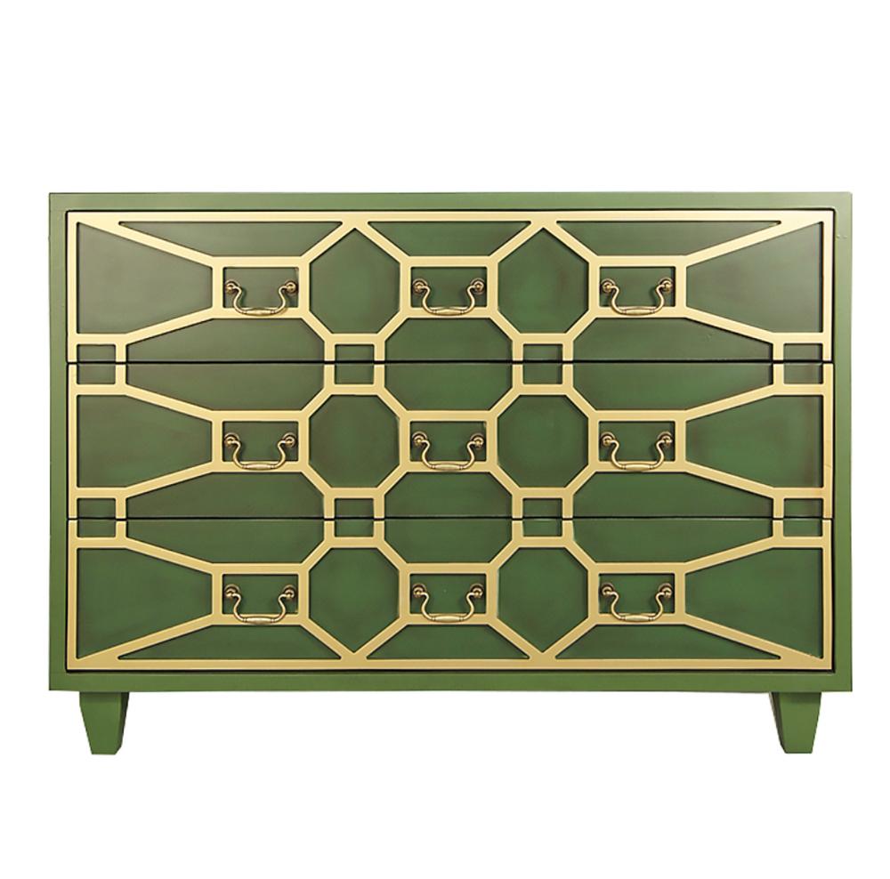 зеленый комод с золотым орнаментом в стиле ар-деко