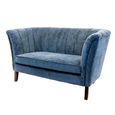 двухместный голубой велюровый диван Dalena