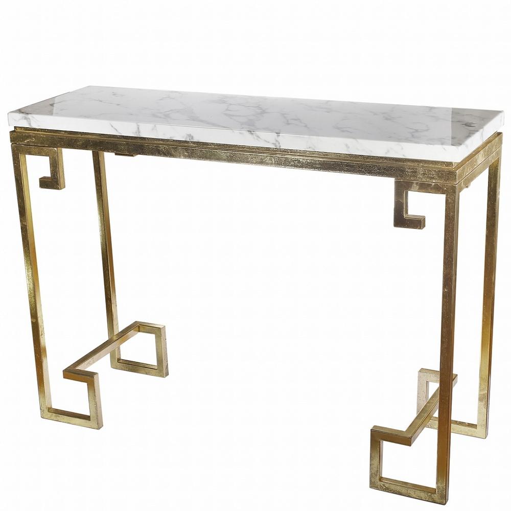 стол-консоль с мраморной столешницей и золотым подстольем Artevaluce