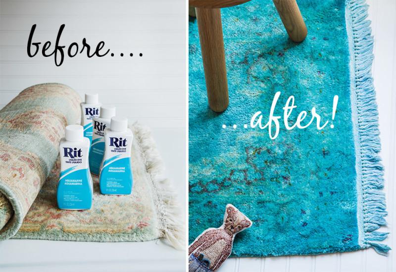 перекраска ковра с помощью красителя для текстиля Rit Dye  источник