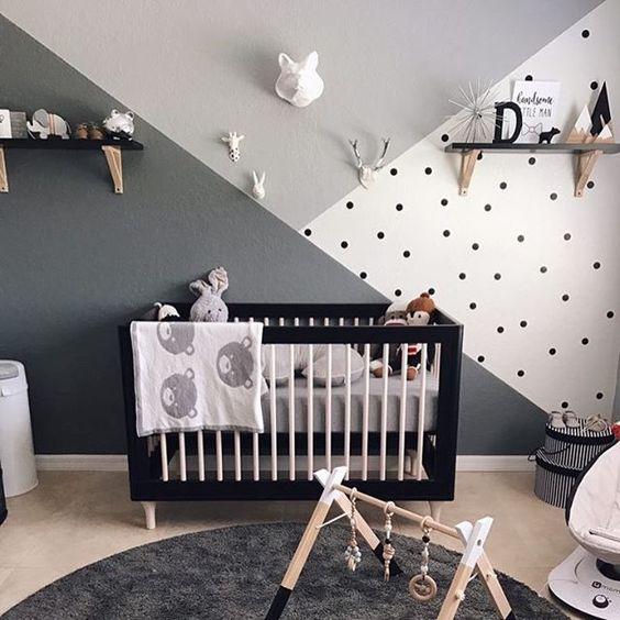 необычная окраска стен в детской  источник