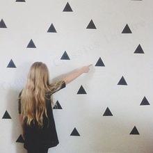 наклейки стикеры для стен золотые серебряные черные цветные треугольники в скандинавском стиле