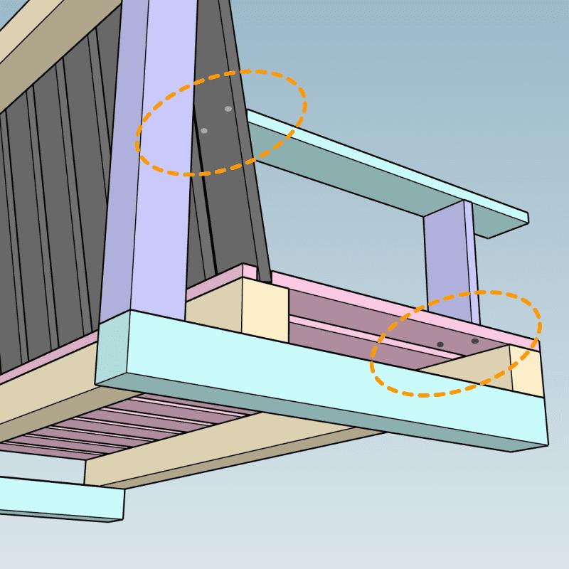 - Более хрупким созданиям я бы посоветовала прикрепить опорную доску подлокотника до монтажа крайних досок сидения.