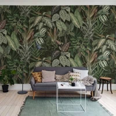 дизайнерские обои листья калатеи джунгли