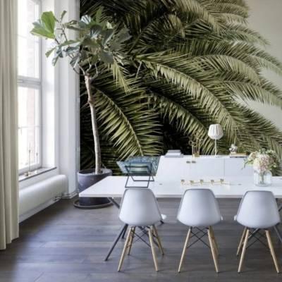 дизайнерские обои с пальмовыми листьями