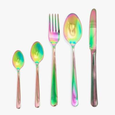 столовые приборы с многоцветным радужным покрытием