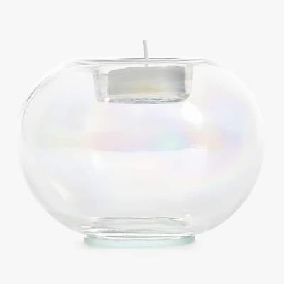 стеклянный подсвечник с жемчужными разводами