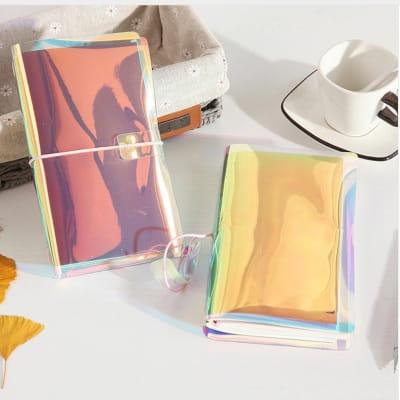 блокнот с виниловой радужной обложкой хамелеон