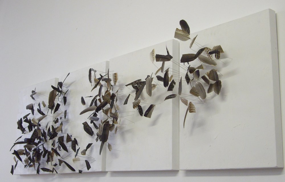 175 x 50cm  Feathers, steel, acrylic on canvas