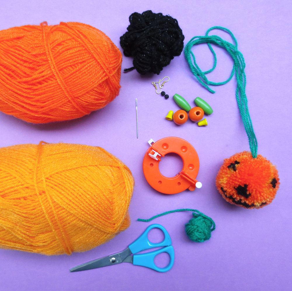 PUMPKIN POMS EARRINGS