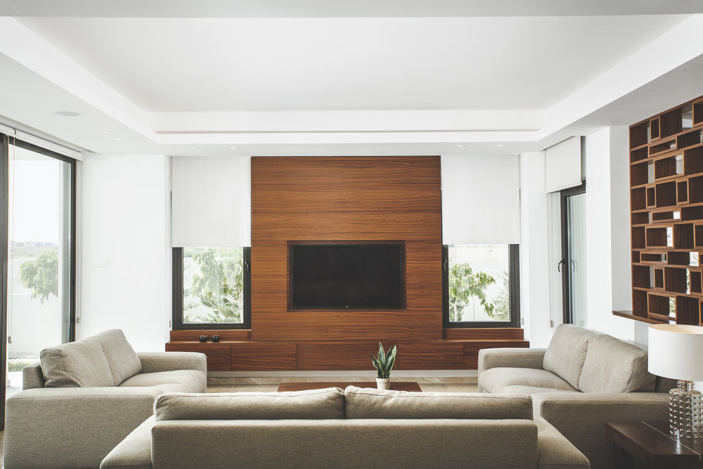 Wooden TV unit and wall cladding