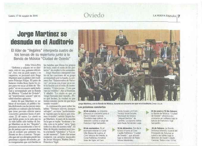 Press article about the Jorge Martínez (leader of 'Ilegales') concert. Some of my symphonic arrangements were played that night.