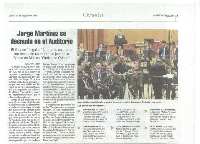2016. Artículo de prensa sobre el concierto de Jorge Martínez (líder de Ilegales). Varios de mis arreglos sinfónicos fueron interpretados esa noche.
