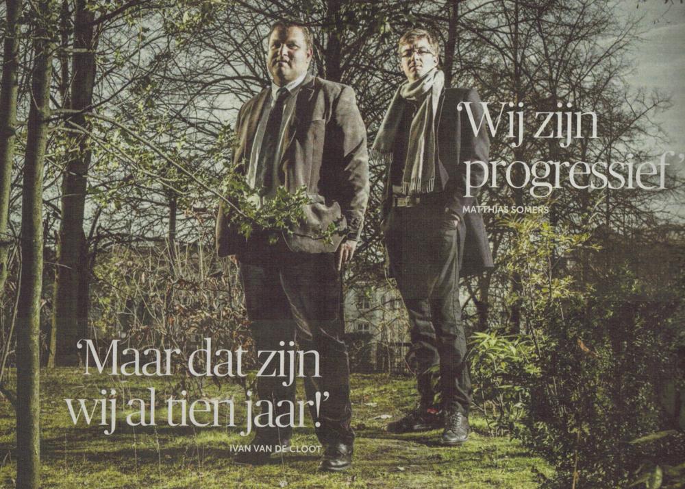 """De Morgen / Zeno, 17 dec. 2016, """"De slag tussen de denktanks"""", (dubbelinterview Matthias Somers & Ivan Van de Cloot, link)"""