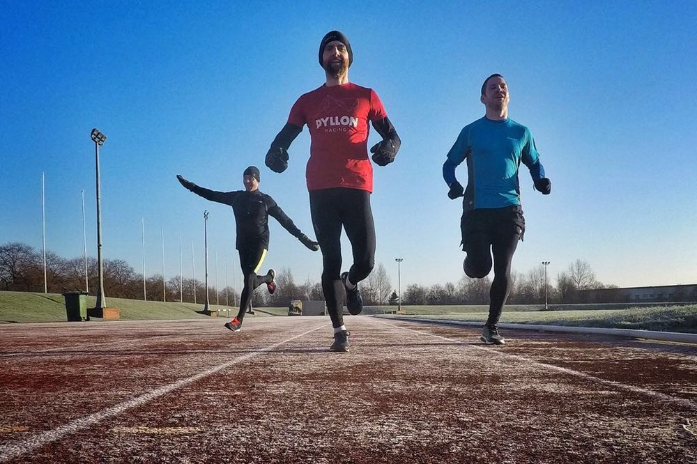 This was me on the left, right after one of those vomit inducing runs! Paul and Graham on the right trying to look serious while I pretend I'm an aeroplane. This is standard behaviour)