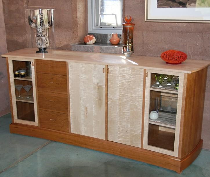 Cherry and maple sideboard