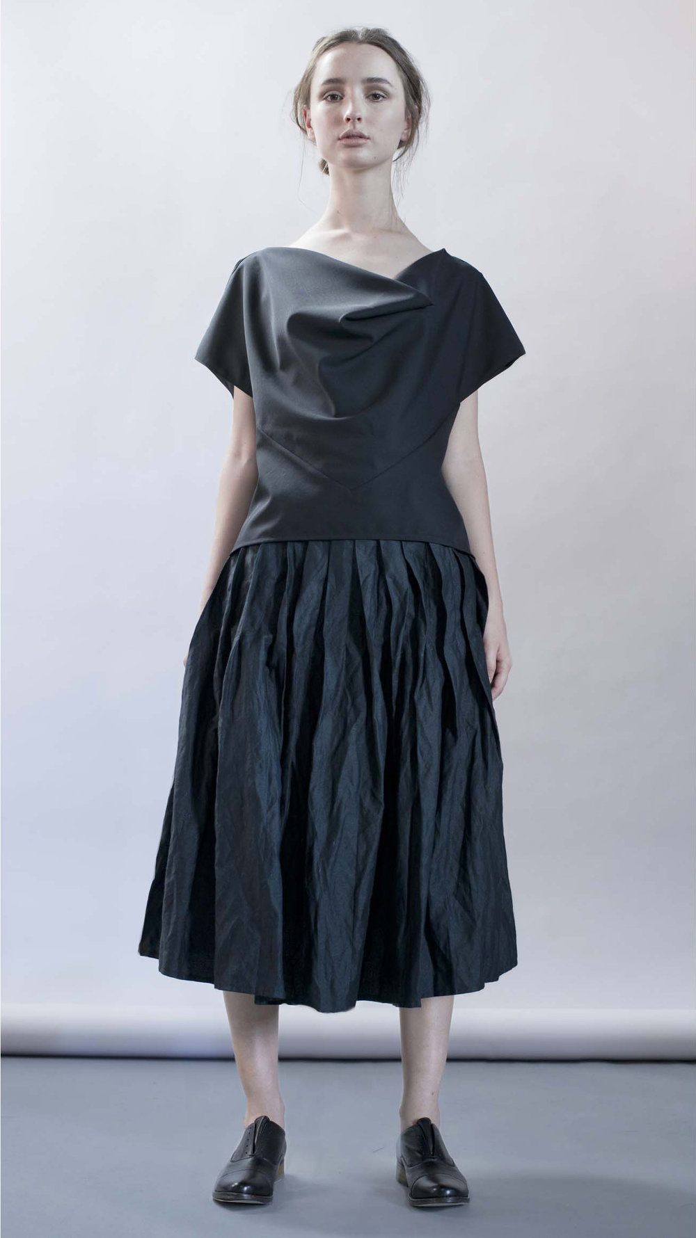 distortion collection  embrace top  pleats skirt