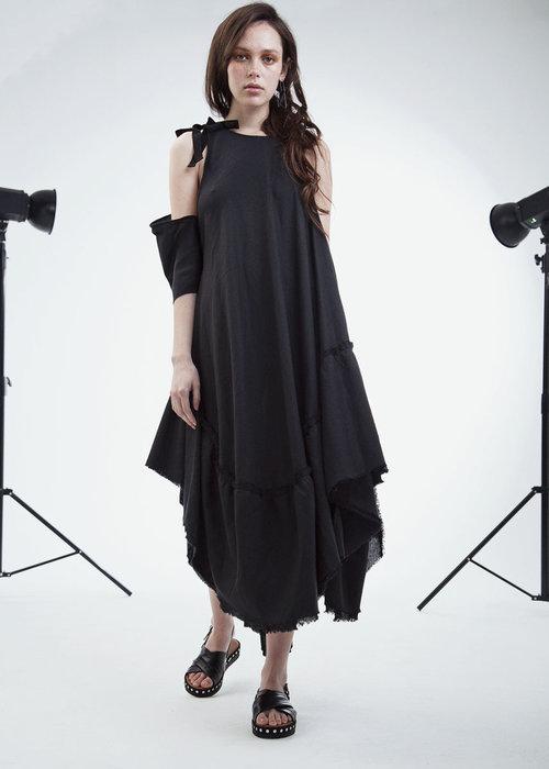 fc7087c6c1bc infinity dress long- black linen MADE TO ORDER — MONSTER ALPHABETS