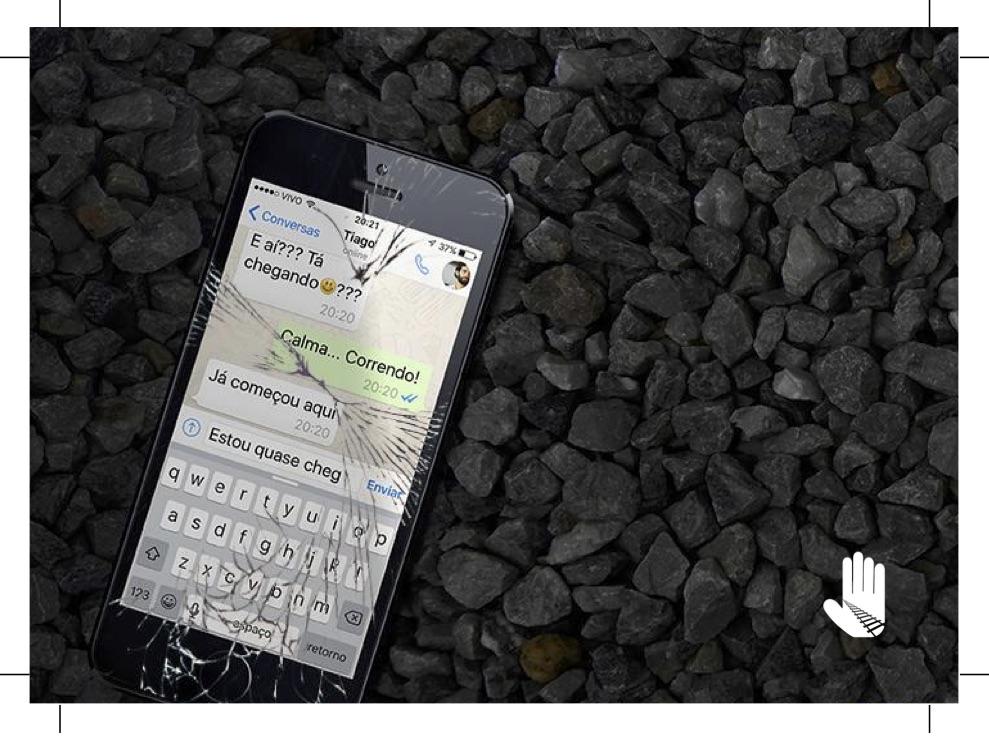 impresso que alerta para os riscos do uso de dispositivos móveis. CLIQUE PARA ABRIR EM NOVA JANELA E SALVAR.