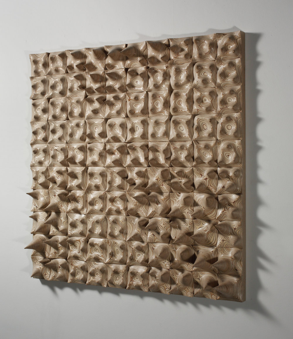 Jongrye Cha ,   Expose Exposed 130915 , 2013. Wood. 44 x 44 x 6 in. Courtesy of Cynthia Reeves Gallery. 2016.JC.01. Photo: Jeong Jinwoo, BauFoto, Courtesy of Cynthia Reeves Gallery  METHOD: Dremel/rotary grinders and other hand tools, hand sanding