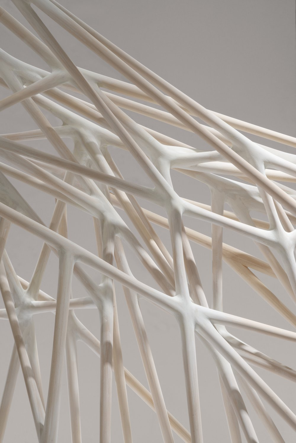 Christopher Kurtz,   Singularity , 2013 (detail). Hand carved basswood, milk paint. 81 x 144 w x 36 in. Courtesy of the Artist. 2016.CK.01.  Photo:  Patrik Argast  METHOD: Joined and hand carved from multiples of square stock basswood. Carved with chisels, gouges, knives, hand planes, spokeshaves and miniature violin makers carving tools