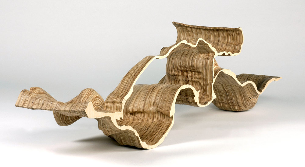 Adrien Segal  , Molalla Meander , 2013. Carved plywood. 16 x 46 x 11 in. Courtesy of the Artist. 2016.AS.01.  Photo: Courtesy of the Artist   METHOD: LIDAR maps, CNC router, hand carving