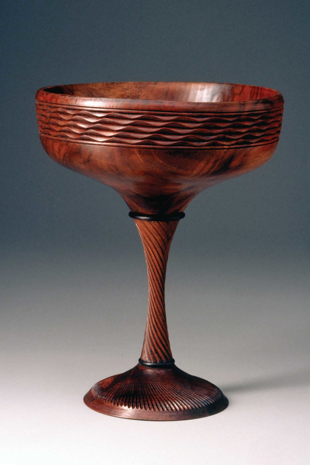 Fig. 1.  Frank Knox, United States.  Compote , 1976. Bowl and stem: California claro walnut; rings: ebony; base: unidentified wood. 9 1/2 x 7 in. dia. Donated by Albert and Tina LeCoff. The Center for Art in Wood's Museum Collection. OBJ 1137. Photo: John Carlano