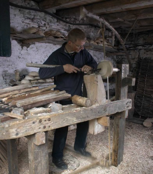 Fig. 3.  Robin Wood working on his pole lathe, United Kingdom. Photo: Robin Wood