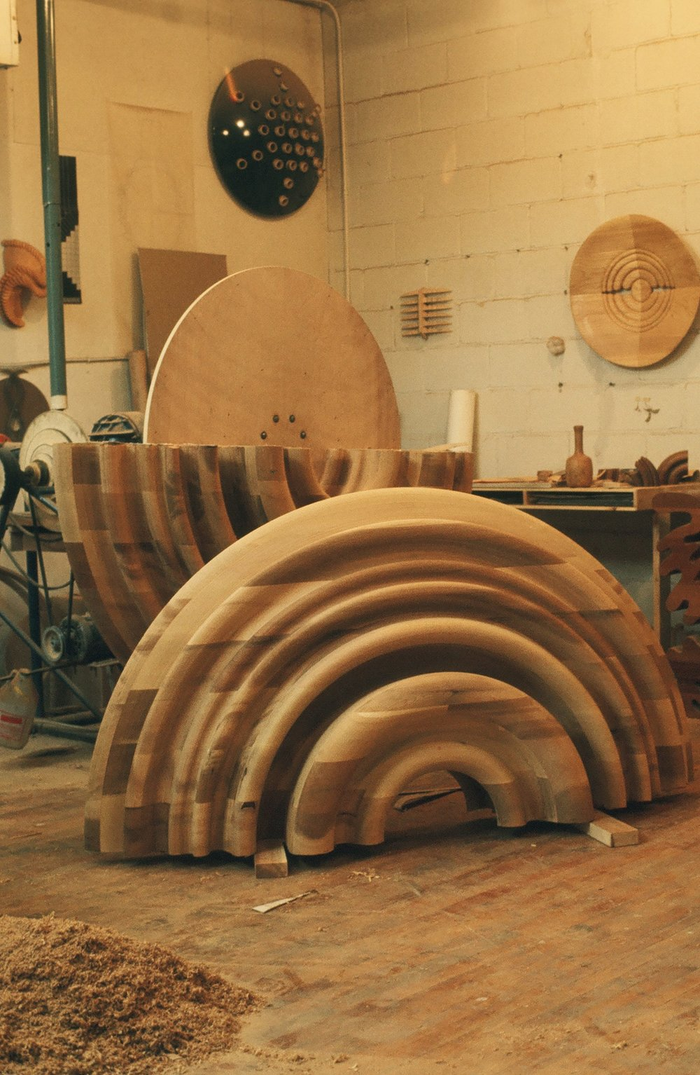 Fig. 10.  Stephen Hogbin's faceplate turning in the process of being cut and reassembled to make his chairs, table, and two shelves, 1974. Photo: Stephen Hogbin