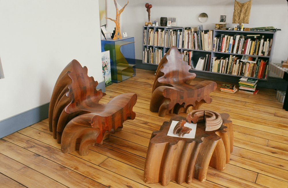 Fig. 11.  Stephen Hogbin's two chairs and table made from a single turning, 1974. Photo: Stephen Hogbin