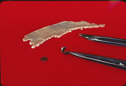 Fig. 12.  Ed Moulthrop's custom made hook and lance tools pictured with sample of his shavings, 1979. The Center for Art in Wood's Fleur and Charles Bresler Research Library. Photo: Rick Sniffin