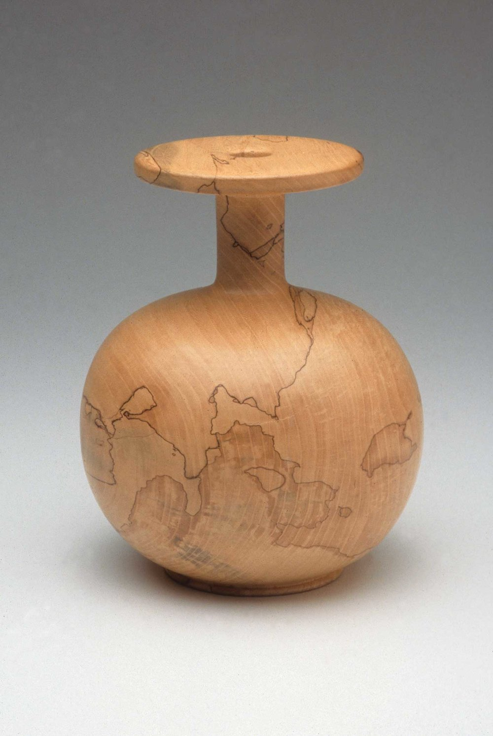Fig. 20.  Melvin Lindquist, United States. Spalted Elm Vase, hollow, 1980– 01. Spalted elm. 8 x 6 ½ in. dia. Donated by Albert and Tina LeCoff. The Center for Art in Wood's Museum Collection. OBJ 19. Photo: John Carlano