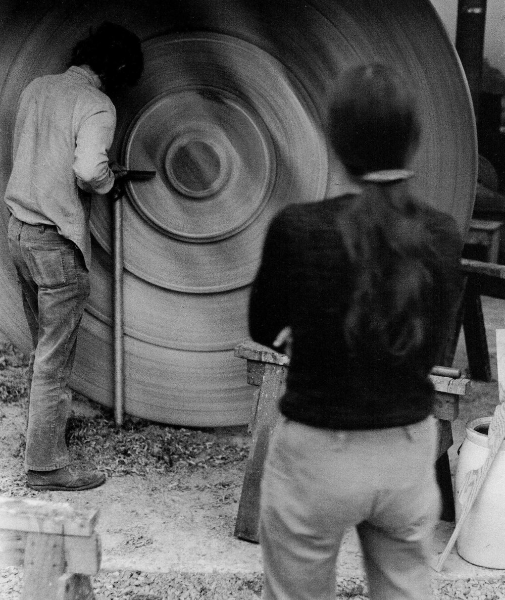 Fig. 9.  Stephen Hogbin turning on his custom made lathe, ca. 1972. Photo: Michael Thomas
