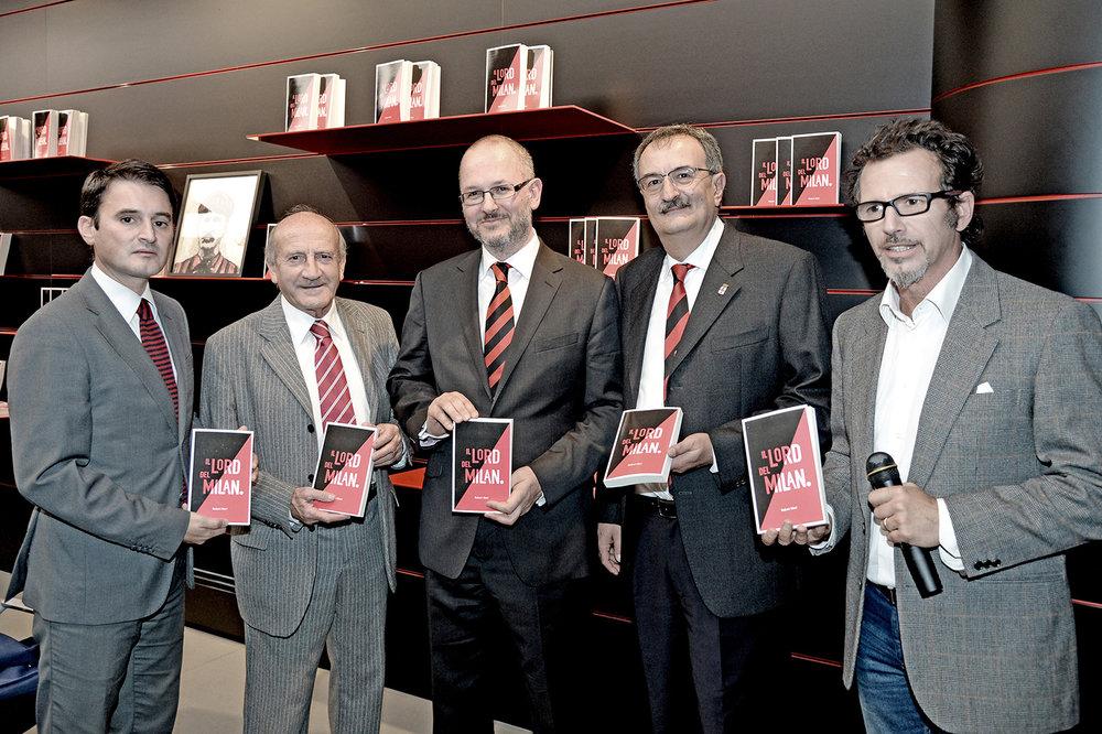 From left to right: Marco Amato, director at Casa Milan, Giovanni Lodetti, former AC Milan and Italy footballer - European Cup Winner (1969), Robert Nieri, Luigi La Rocca and Germano Lanzoni, San Siro Stadium announcer.