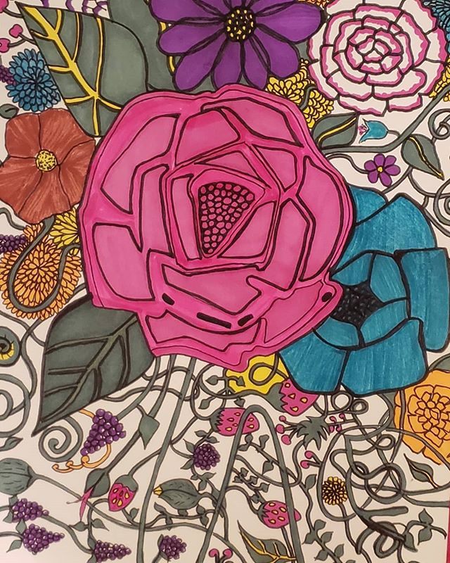 Floral organic design #floralillustration #motif #textiledesign #illustration #colorful #doodle #markers #narrative #british