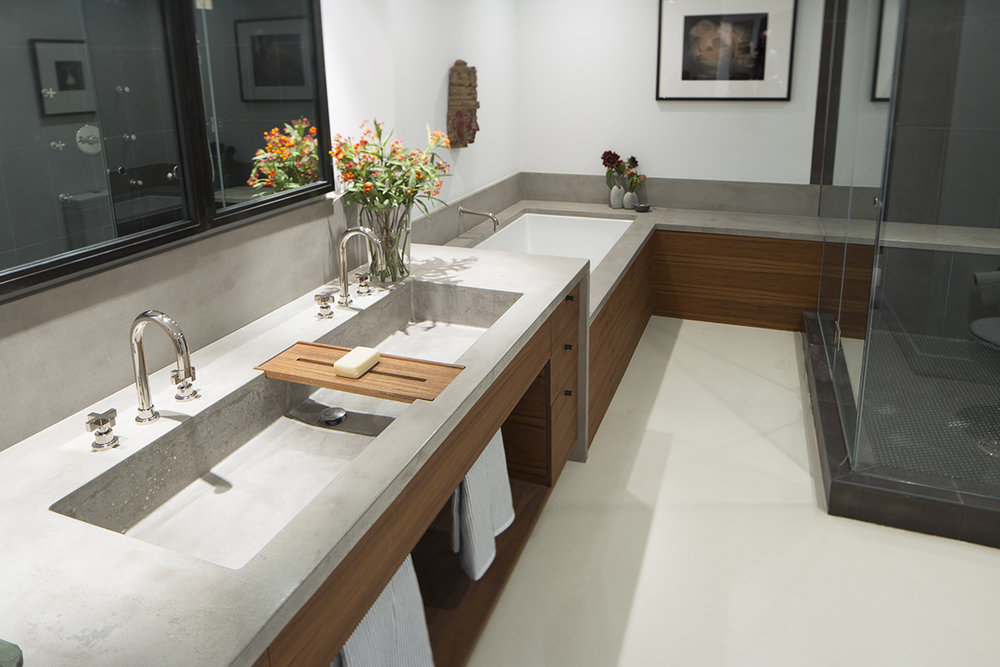 Get Real Surfaces concrete countertops and bathtub