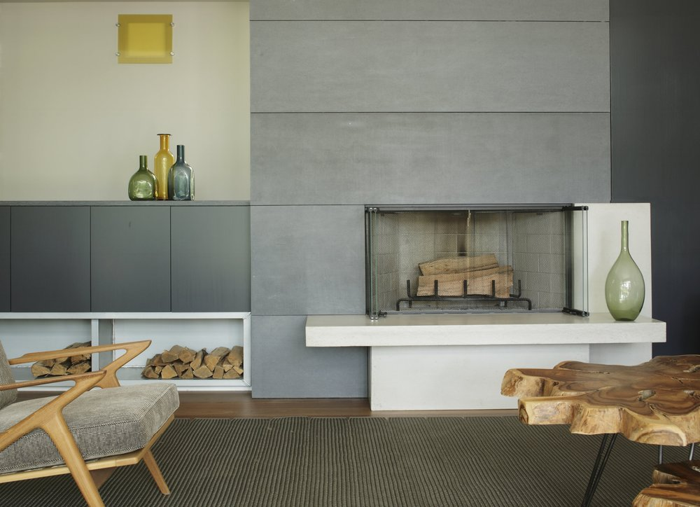 Get Real Surfaces concrete fireplace
