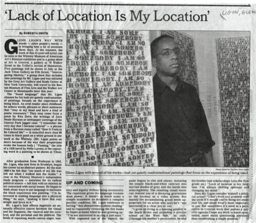 "Smith, Roberta. ""'Lack of Location Is My Location.'""  New York Times , June 16, 1991."