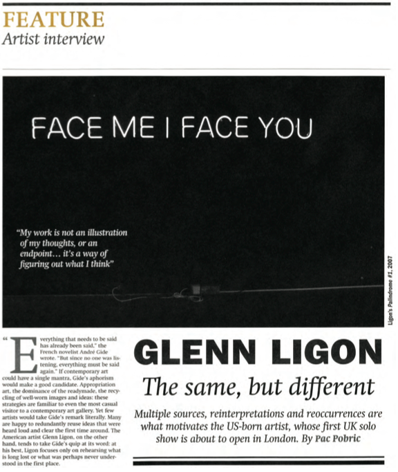 "Pobric, Pac. ""Glenn Ligon – The Same, But Different.""  The Art Newspaper  XXIII, no. 260, (September 2014): 52-53."